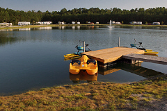 5 acre North River Lake is a stocked lake available for guests of North River Campground to fish. North River Lake is located in Camden County NC near Elizabeth City and the Outer Banks of North Carolina.