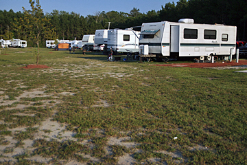 North River Campground RV Site with full hook ups. North River Campground is located near the Outer Banks of North Carolina and Hampton Roads Virginia.